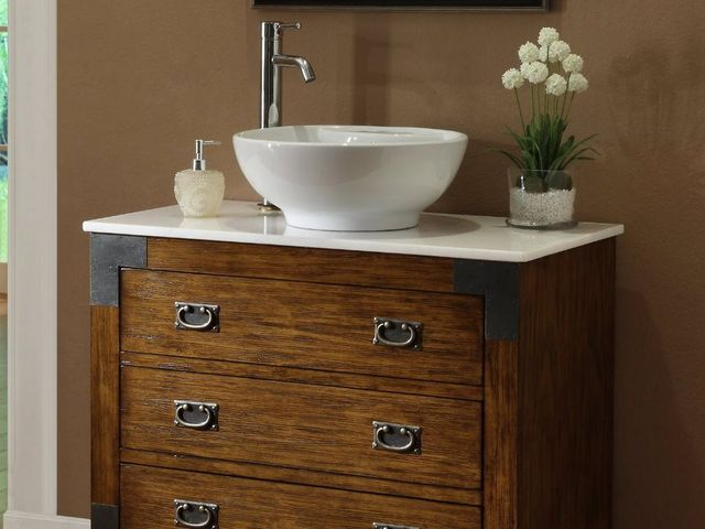 Vessel sinks sit on bathroom counters rather than nestling into them and are made to resemble old-school wash basins.