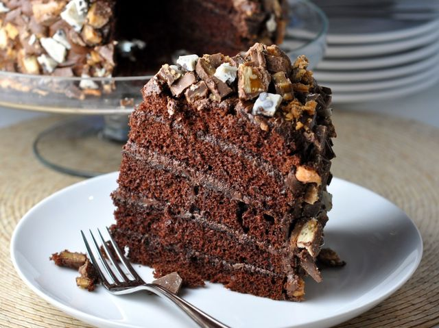 Almost at once she was back again staggering under the weight of an enormous round chocolate cake on a china platter. The cake was fully eighteen inches in diameter and it was covered with dark-brown chocolate icing.