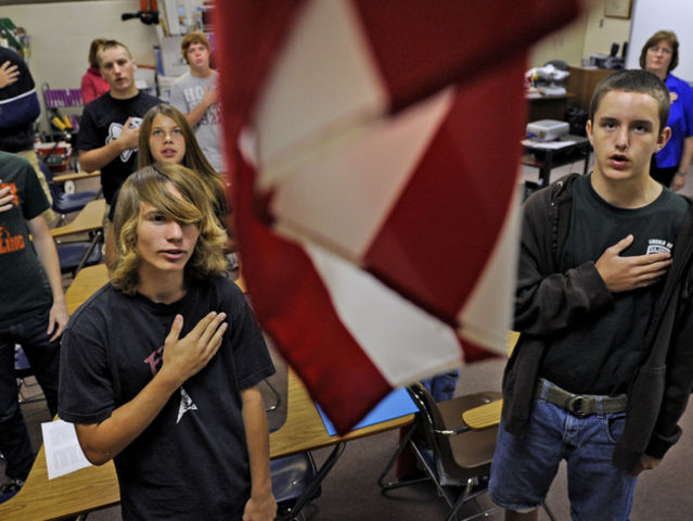 Should everyone be required to stand for the Pledge of Allegiance at school?