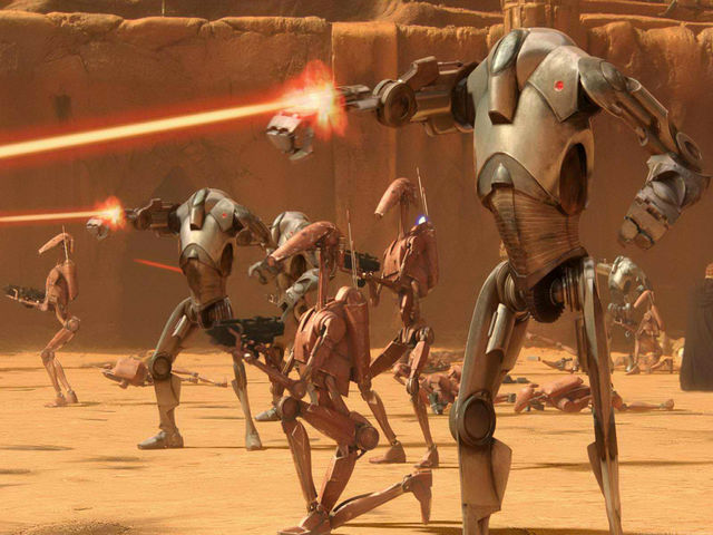Which class of droids included droids designed for warfare and combat?
