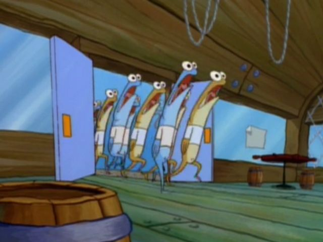 While Krabs and Squidward laugh, buses full of _____ rush in: