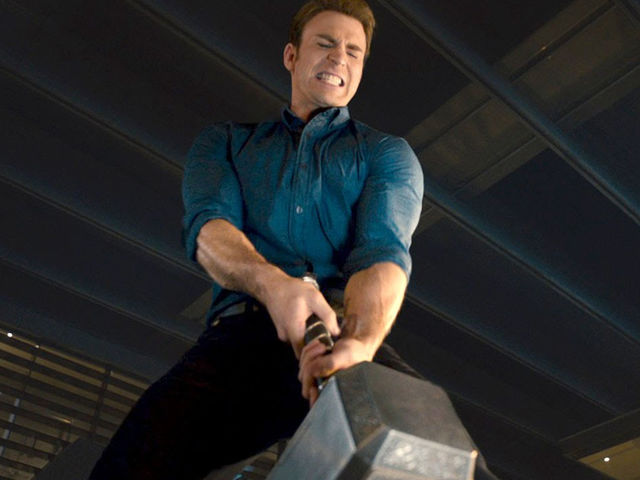 "During a party in ""Avengers: Age of Ultron"", who was the first to attempt to pick up Thor's hammer?"