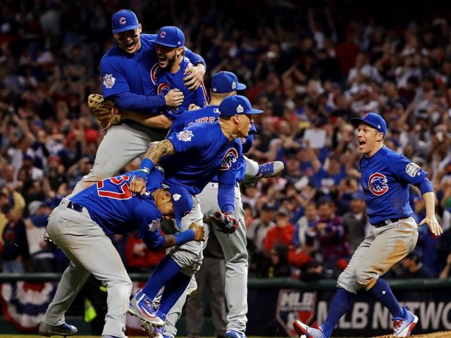 The Chicago Cubs win the World Series for the first time since 1908