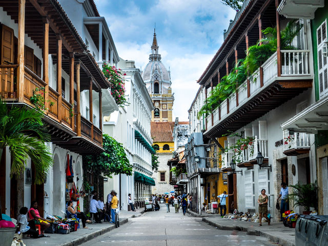 The colonial streets of Cartagena, Colombia, are colorful and full of history.