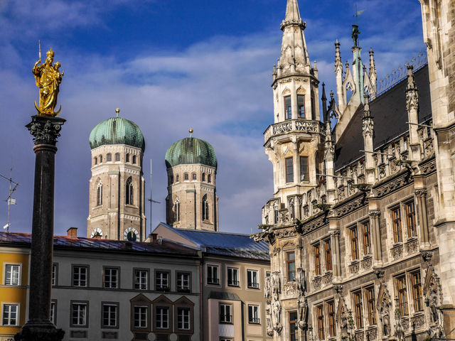 These are three of the most representative sightseeing spots in Munich, Germany.