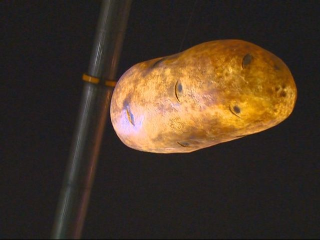 In one city, people gather downtown to see a giant glowing potato called the GlowTato dropped from the sky.