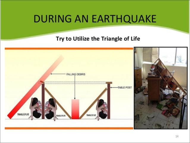 "True or False: The ""Triangle of Life"" is the best way to stay safe during earthquakes indoors."