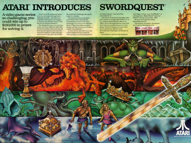 The Swordquest game series was released by Atari in 1982. What are the names of the next games in the series?