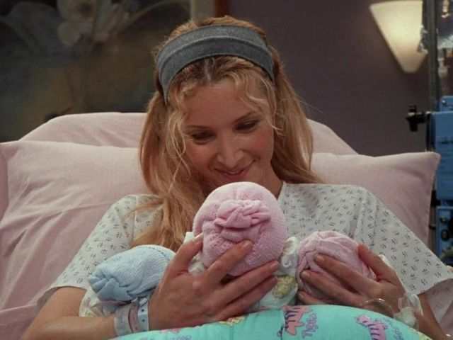 What are the names of the triplets Phoebe gives birth to?