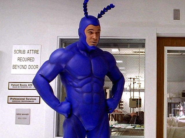 What is the tick's battle cry?