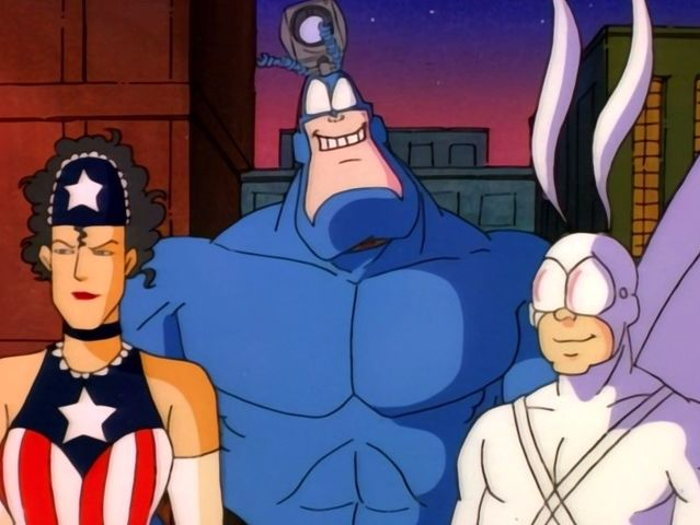 Sewer-Urchin, a parody of Aquaman, American Maid, a Wonder Woman and Captain America hybrid, and Die Fledermaus, a Batman parody, all work together with The Tick in the comics and animated series.