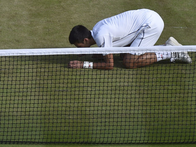 Djokovic celebrates every Wimbledon title he wins by eating blades of grass on Centre Court.