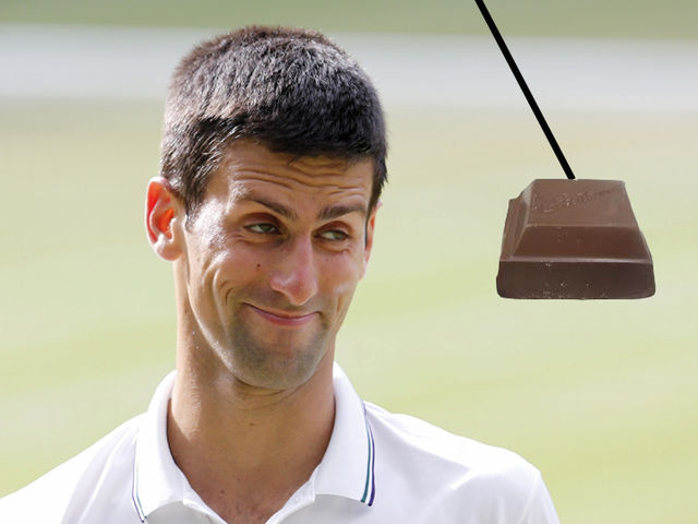 Djokovic binged out on a single square of chocolate after his third Australian Open triumph in 2012.