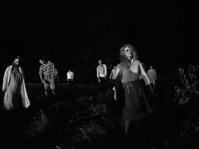 The Night of the Living Dead zombies are pretty simple with some extra black eye makeup, but overall still pretty effectively spooky.