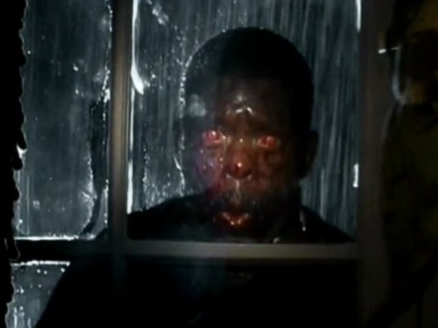 28 Days Later zombies sport red eyes and plenty of extra blood from their victims!