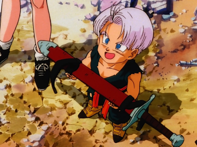 How does Trunks get his sword?