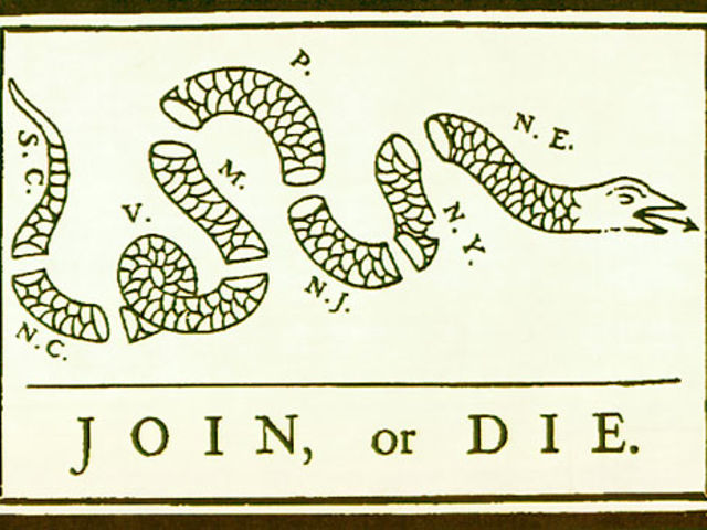 "Benjamin Franklin drew ""Join, or Die,"" which was a political cartoon first published in the Pennsylvania Gazette on May 9, 1754."