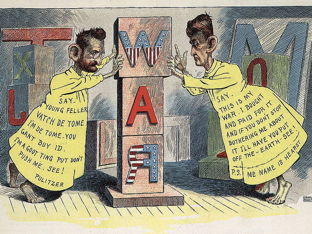 Joseph Pulitzer & William Randolph Hearst engaged in a famous circulation battle in the late 1800s.