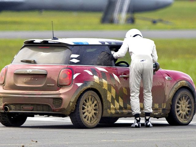 Which celebrities were the first to appear in the Star In A Rallycross Car segment of Top Gear?
