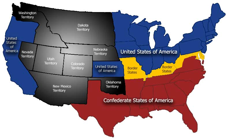 Would You Be A Confederate Or A Union Soldier In The Civil War - Map of us confederate and union states 1860