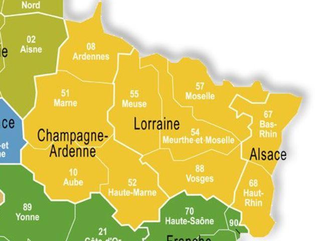 Ardennes (08) Aube (10) Marne (51) Haute-Marne (52) Meurthe-et-Moselle (54) Meuse (55) Moselle (57) Bas-Rhin (67) Haut-Rhin (68) Vosges (88)