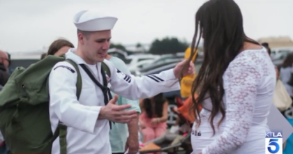 Surprise! Sailor Comes Home to Find Wife 8 Months Pregnant ...  |Pregnancy Fail Military Wife