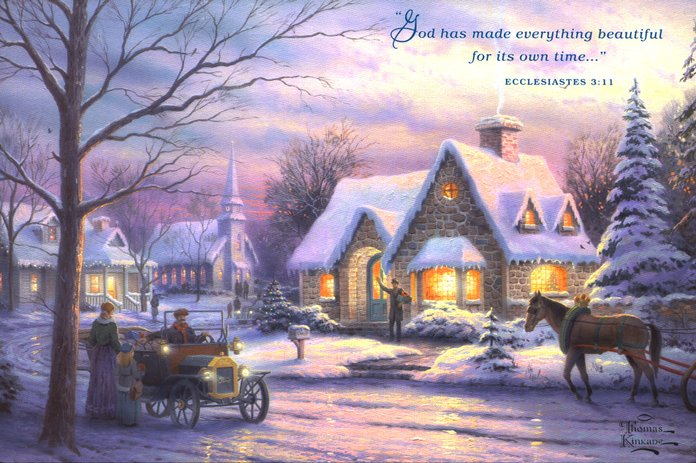 Currier And Ives Christmas Cards - Christmas Lights Card and Decore