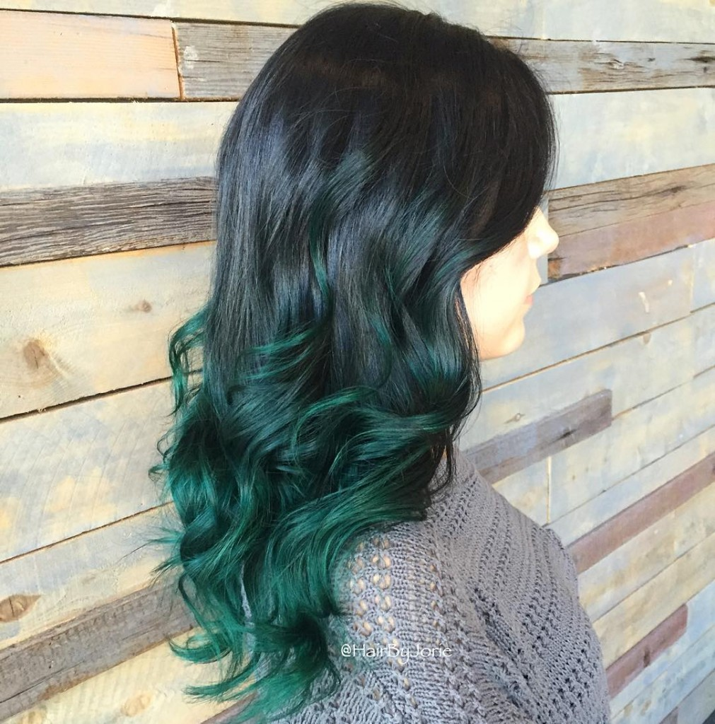 Green ombre hairstyles 2017