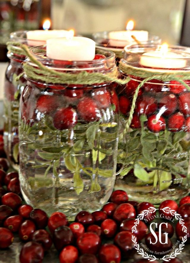 15 awesome mason jar crafts to get you excited for the for Christmas table decorations using mason jars