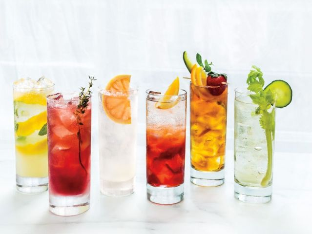 Can you name these mixed drinks by their ingredients for Sparkling water mixed drinks