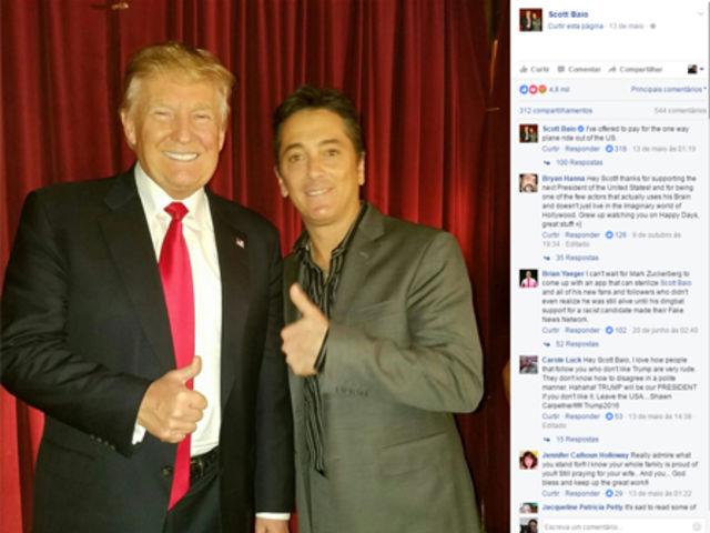 """O ator declarou voto em Trump dizendo que ele """"se comunica muito bem"""" e o defendeu quando vazaram declarações machistas do candidato"""