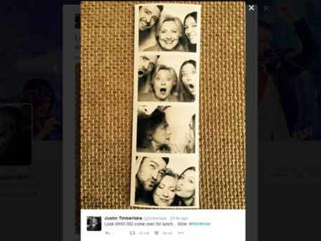 O cantor e sua mulher, Jessica Biel, foram apresentadores de um evento de arrecadação de fundos para Hillary e tiraram divertidas selfies com ela