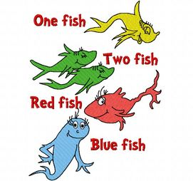 One fish two fish red fish blue fish characters for One fish two fish printable