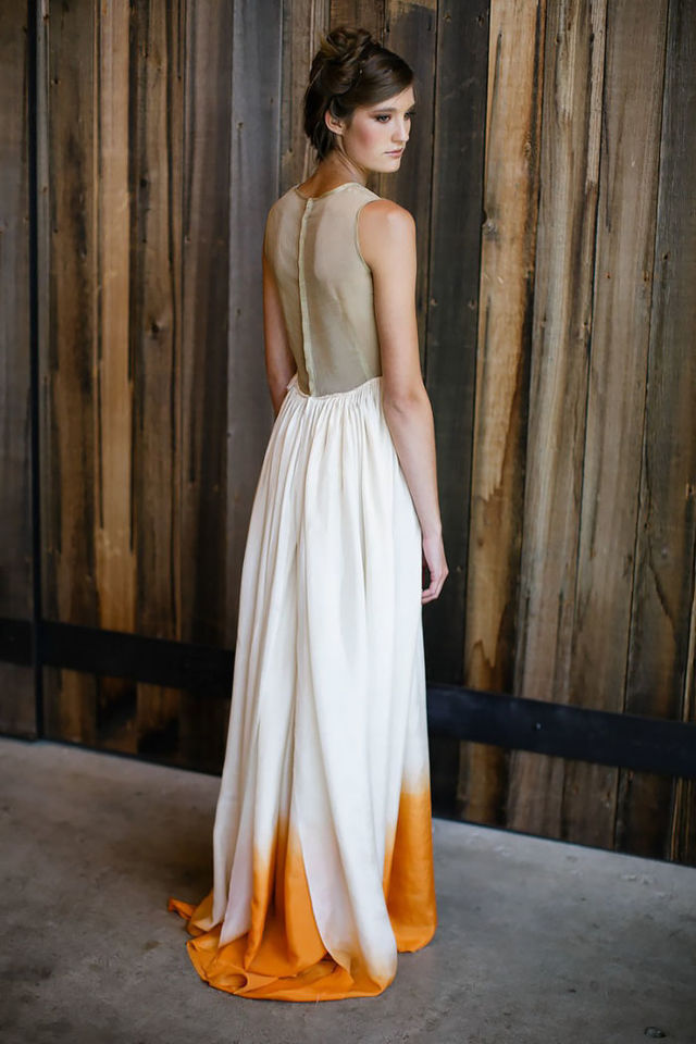 Yellow dipped wedding dress