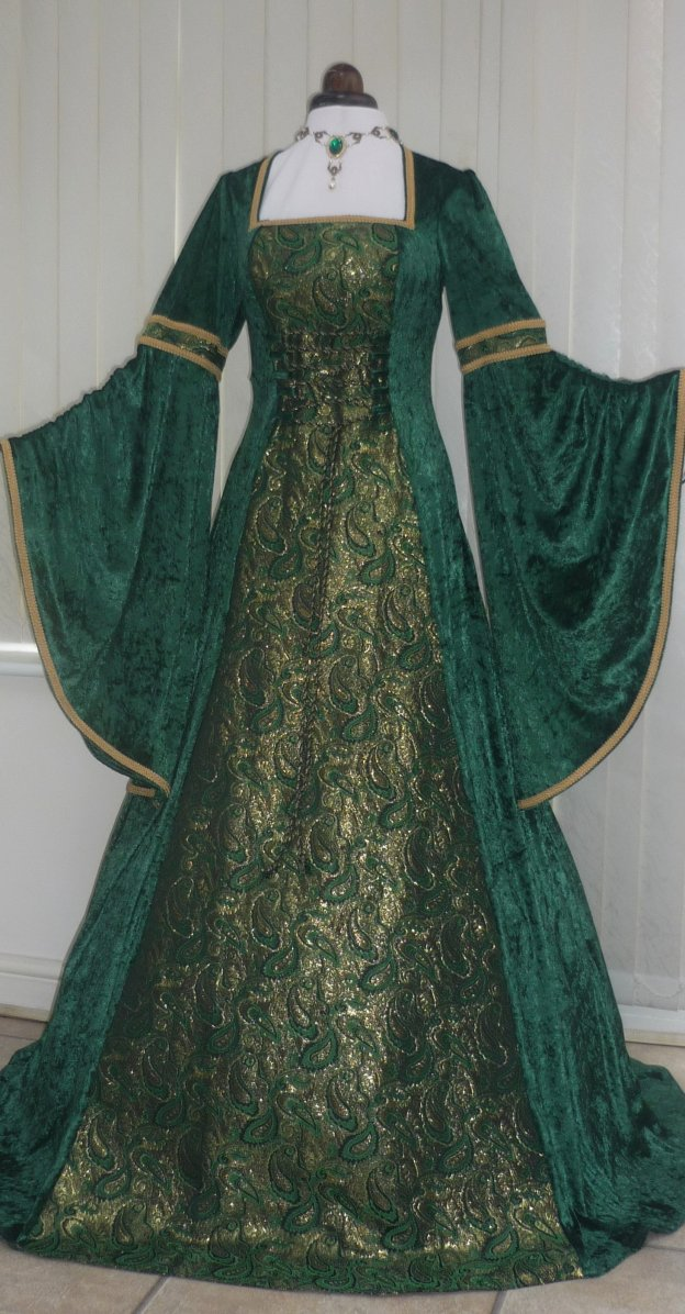 Image result for green x black brocade gown