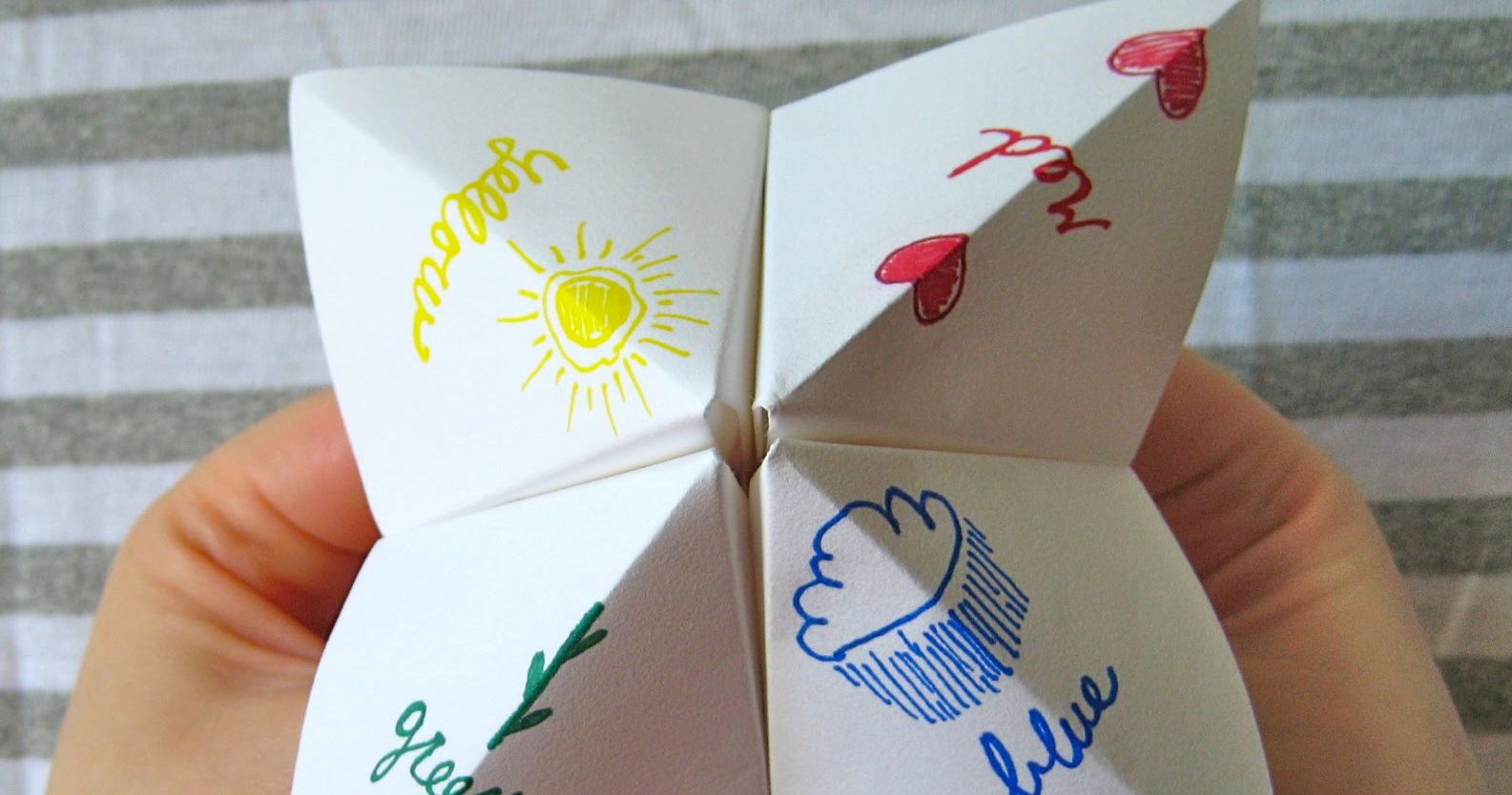 fortune teller paper A fortune teller (also called a cootie catcher, chatterbox, salt cellar, whirlybird, or paku-paku) is a form of origami used in children's games parts of the fortune.