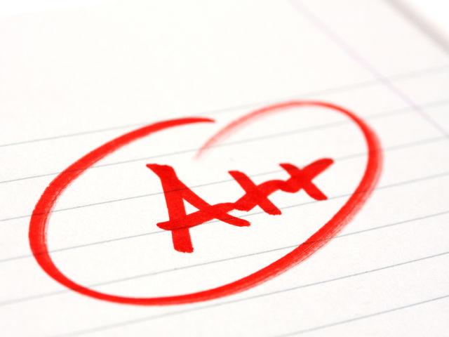 あなたの成績はA++!最優秀です