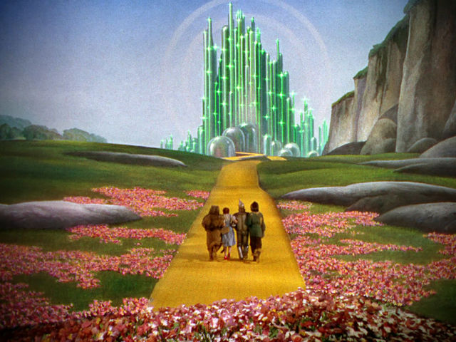 wizard of oz cast walking the yellow brick road