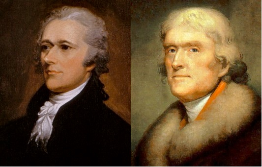 Image result for photo of hamilton and jefferson