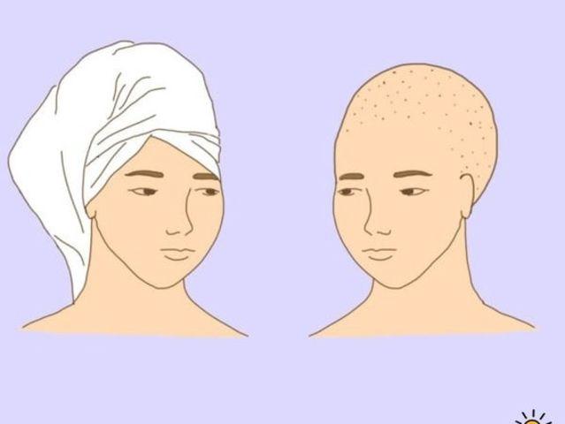 La toalla en el pelo
