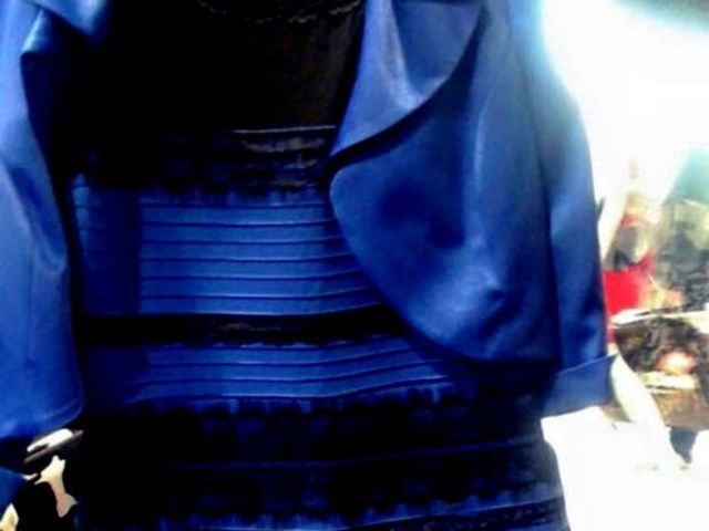 Blue and black or white and gold dress images