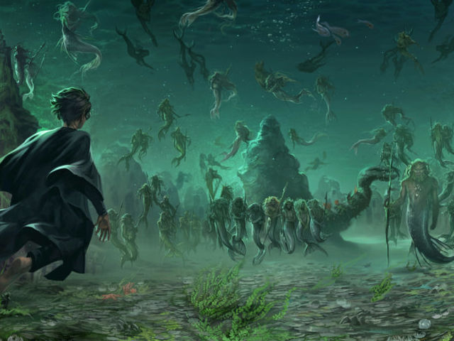 Which character had a run-in with the giant squid on their first night at Hogwarts?