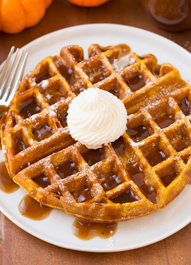 Pumpkin Waffles With Apple Cider Sauce