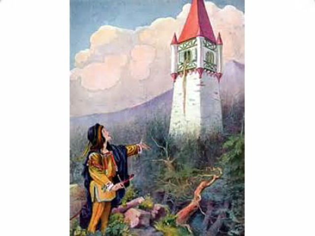 In the Grimm brothers' rendition of Rapunzel, what did the angry witch do to the prince when she discovered the couple had been having carnal relations as man and wife?