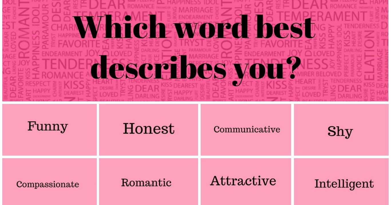 choose 8 words to describe your personality and find out