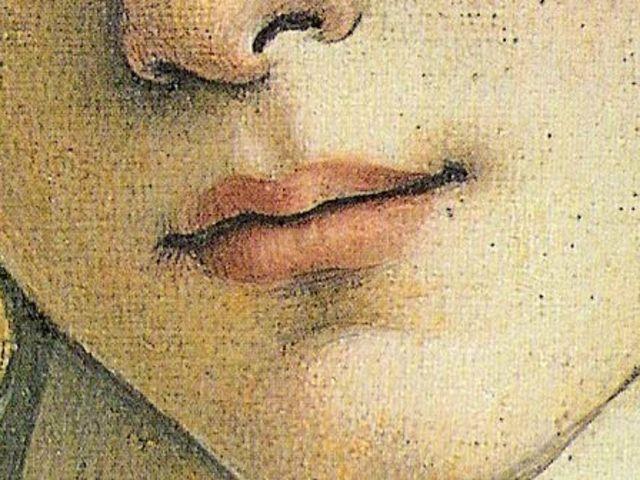 Una pregiata tela di lino di fine Quattrocento conserva questa dolce bocca, chi è il soggetto ritratto?