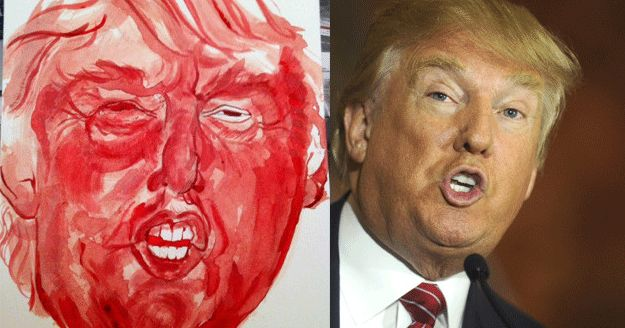 Trump Painting Using Menstruation Blood
