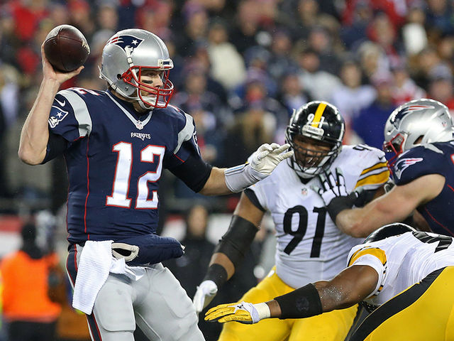 As of 2017, how many times have the Patriots played the Steelers in the AFC Championship Game?
