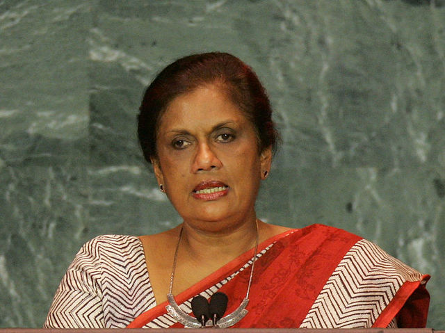 Chandrika Kumaratunga was the president of Sri Lanka from 1994-2005.