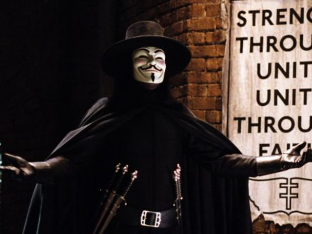 "It's V the vigilante's symbol from ""V for Vendetta""!"